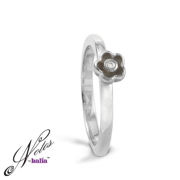 Delicate Daisy Stacking Ring Sterling Silver Notes by Halia