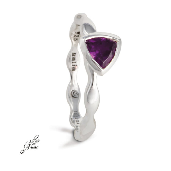 Amethyst Fairy Wings Stacking Ring Sterling Silver Notes by Halia