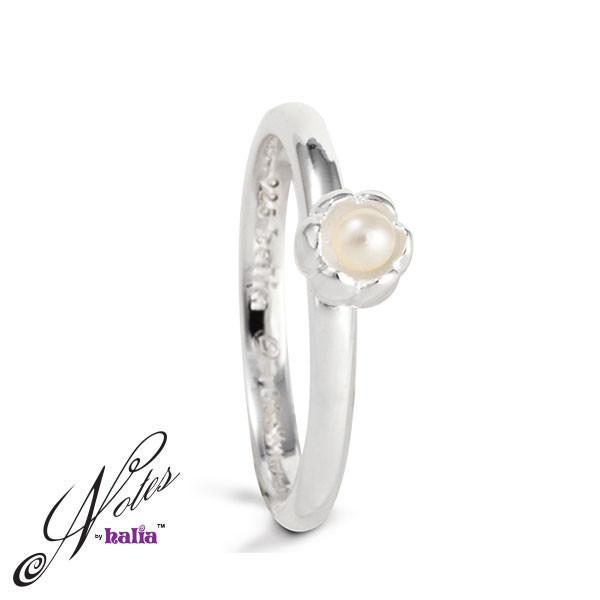 White Freshwater Pearl Dance 'til Dawn Pearl Stacking Ring Sterling Silver Notes by Halia