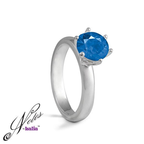 Blue Topaz Cubic Date Night Stacking Ring Sterling Silver Notes by Halia