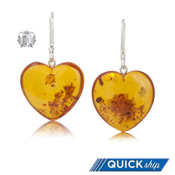 Amber Heart Hanger Earrings