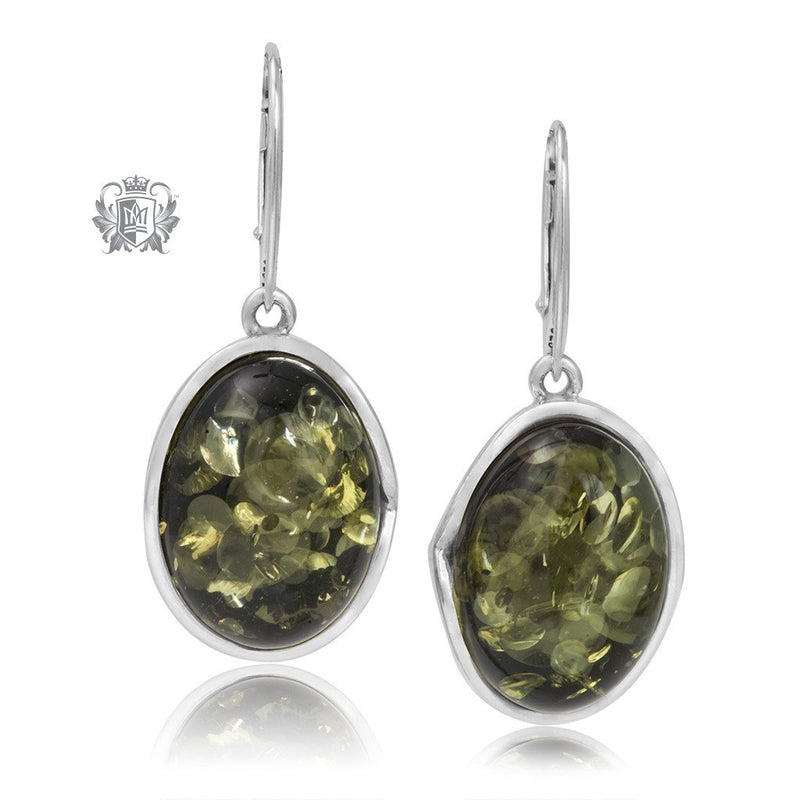Curved Wrapped Green Amber Earrings