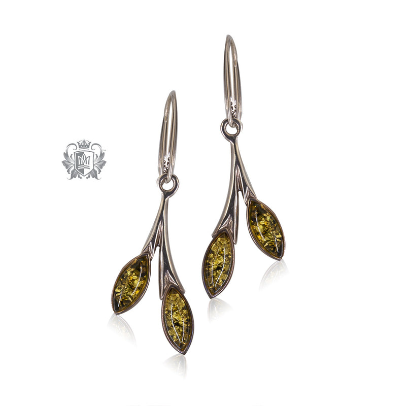 Green Amber Hanger Earrings