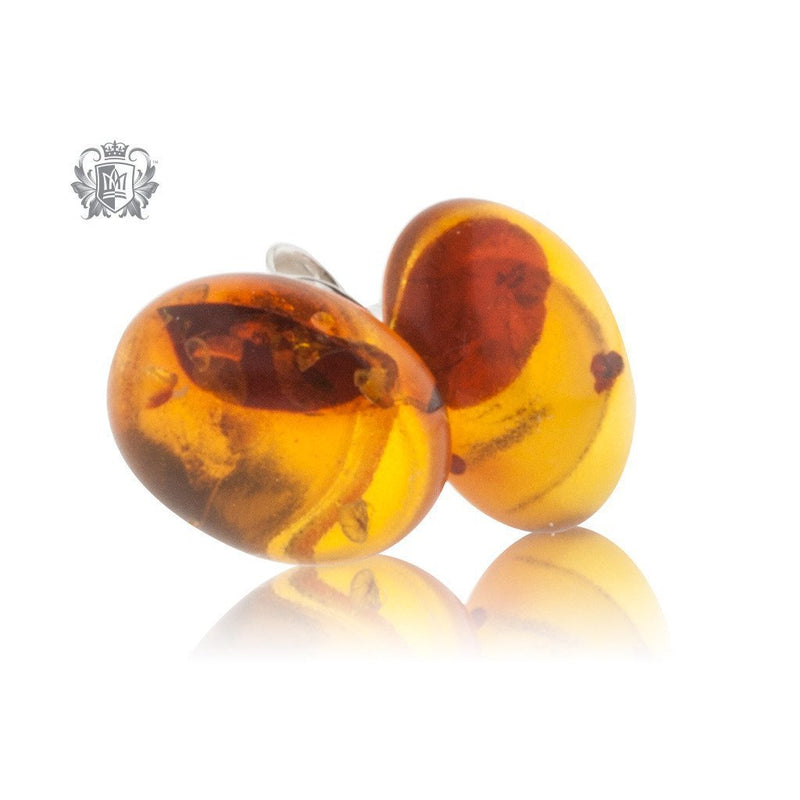 Golden Cognac Amber Studs Sterling Silver Posts - 2
