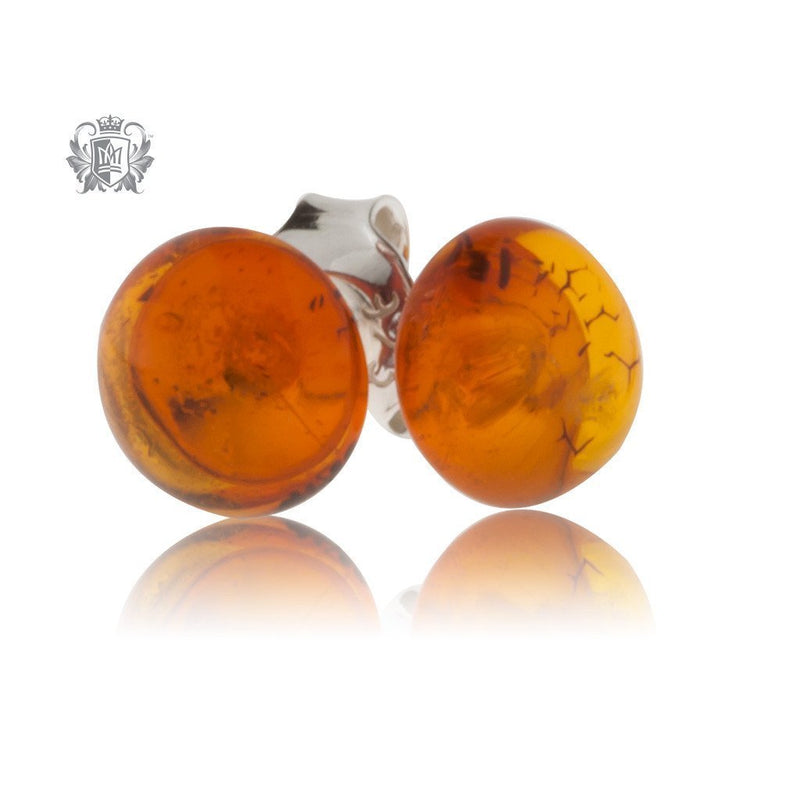 Golden Cognac Amber Studs Sterling Silver Posts - 4