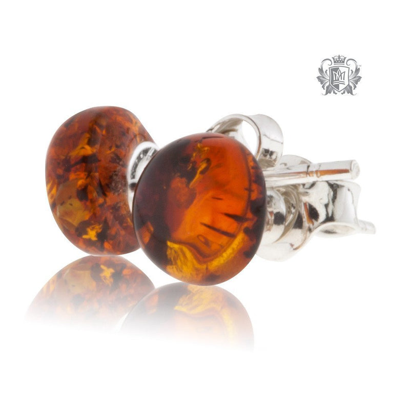 Golden Cognac Amber Studs Sterling Silver Posts - 5