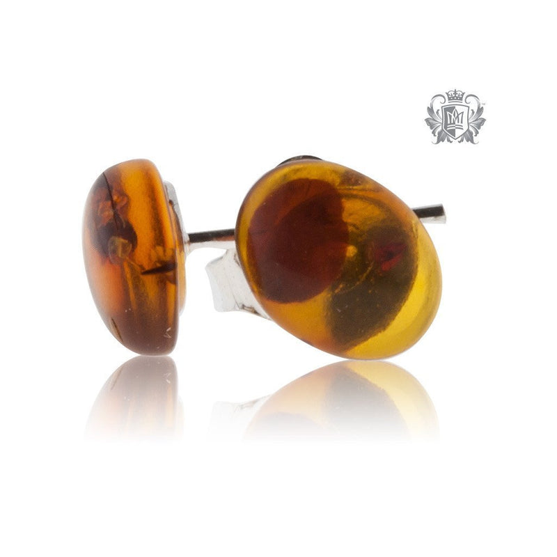 Golden Cognac Amber Studs Sterling Silver Posts - 3