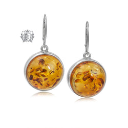 Round Amber Dangling Earrings