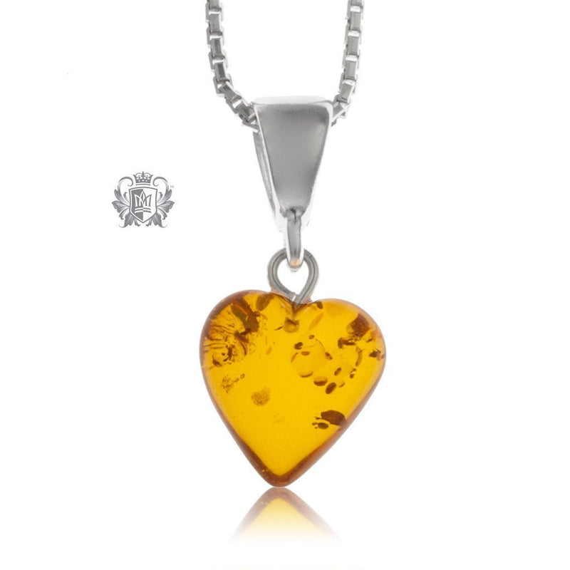 Petite Heart Amber Pendant Sterling Silver -1