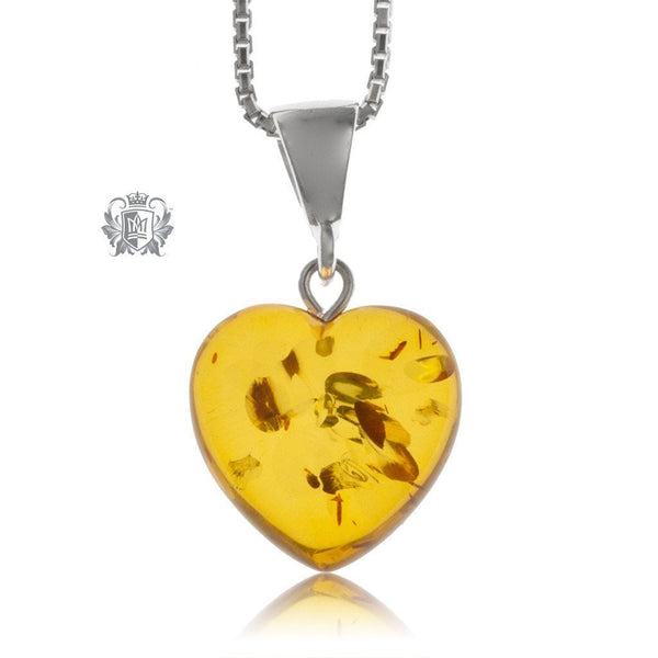 Petite Heart Amber Pendant Sterling Silver -2