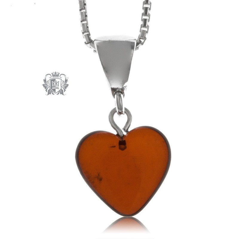 Petite Heart Amber Pendant Sterling Silver -4