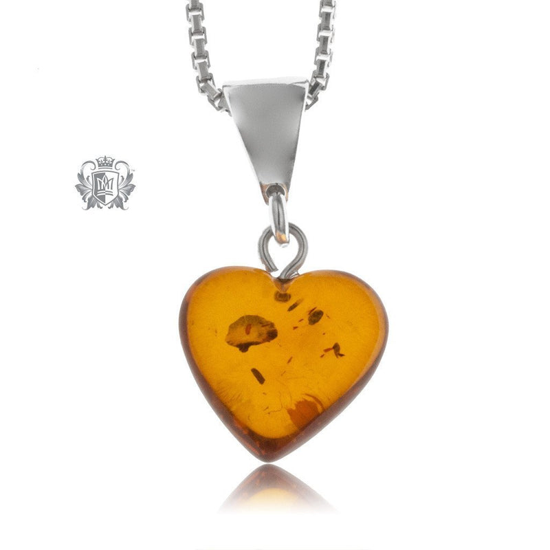 Petite Heart Amber Pendant Sterling Silver -3