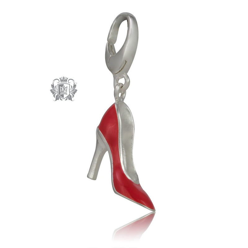 Scarlet Sky high Heel Red Enamel Sterling Silver Charm - Metalsmiths Sterling