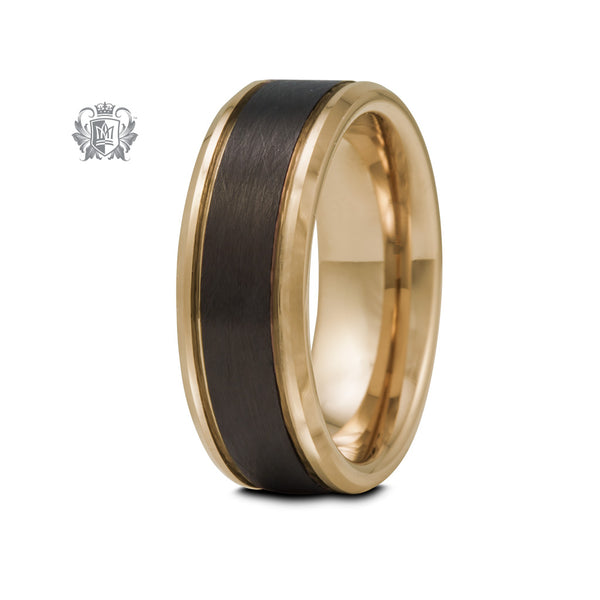 Coloured Tungsten Band with Black Brushed Inlay