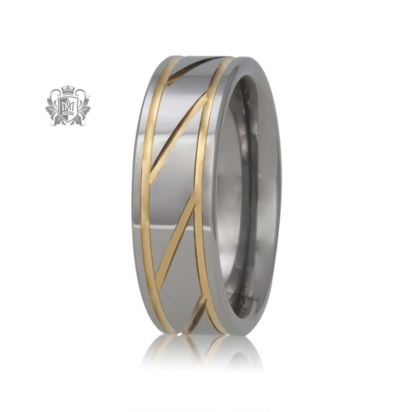 Sharp Diagonal Tungsten Carbide Band with Gold Accents
