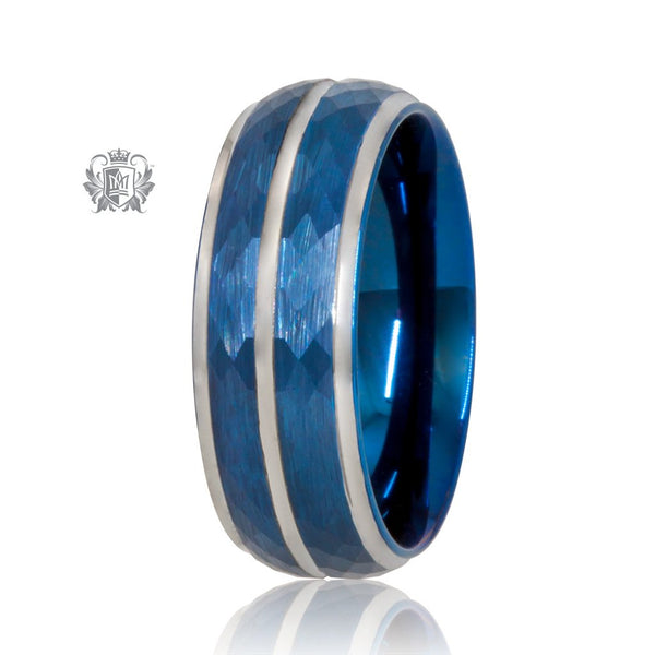 Blue/Grey Tungsten Cut Channel Band