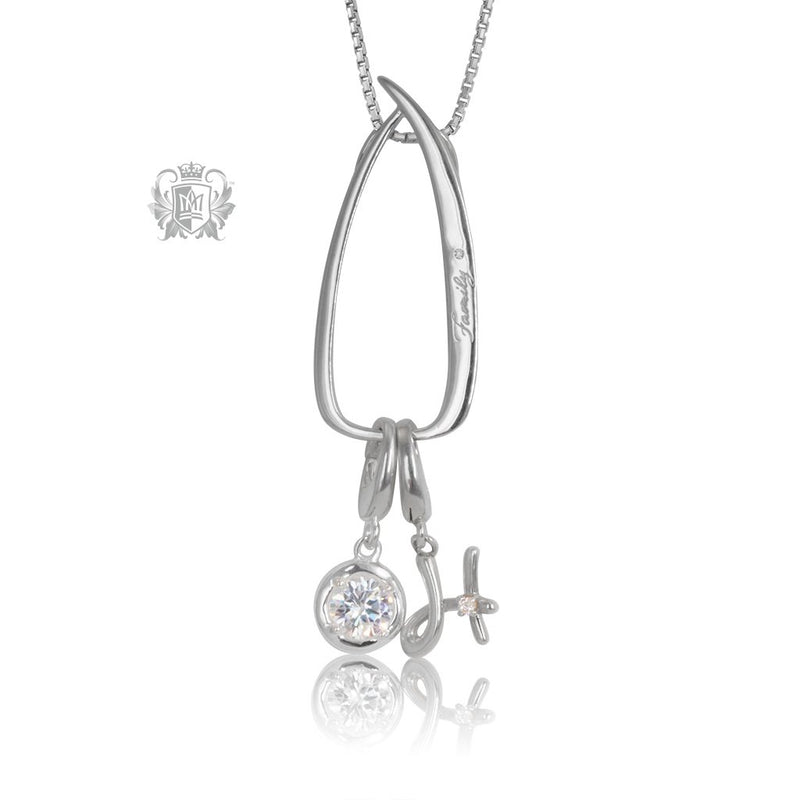 Modern Family Charm Keeper Pendant with birthstone & initial charms (sold separately)