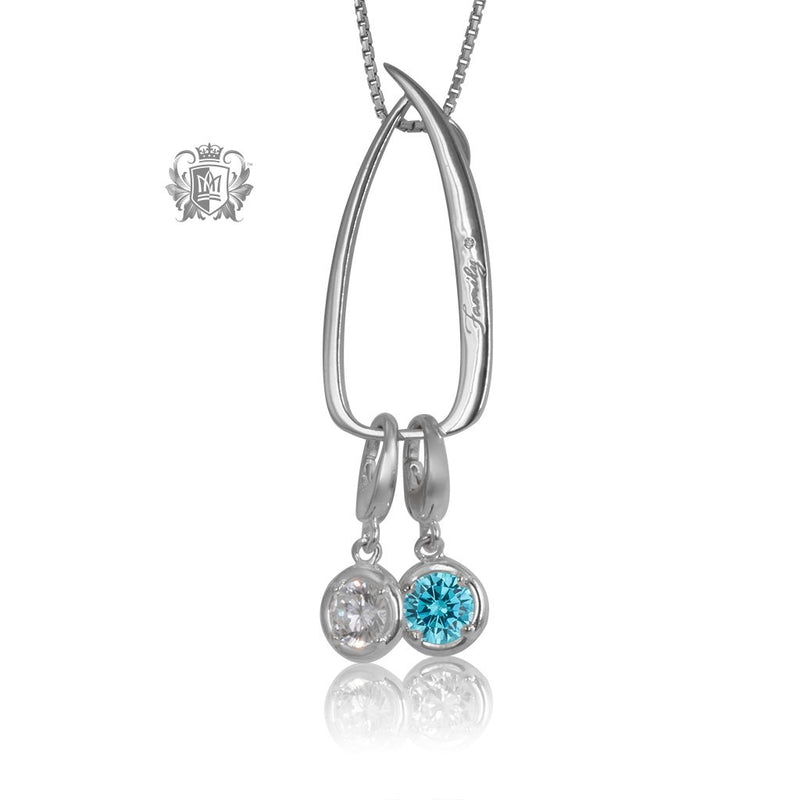 Modern Family Charm Keeper Pendant with 2 birthstone charms (sold separately)