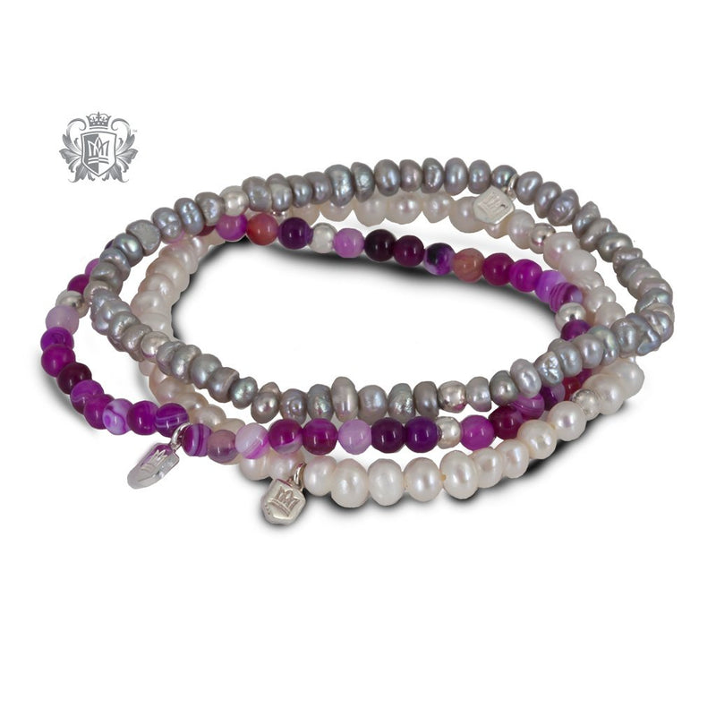 GreyPearl, White Pearl, Pink Agate  Stackable Friendship Bracelets Sterling Silver