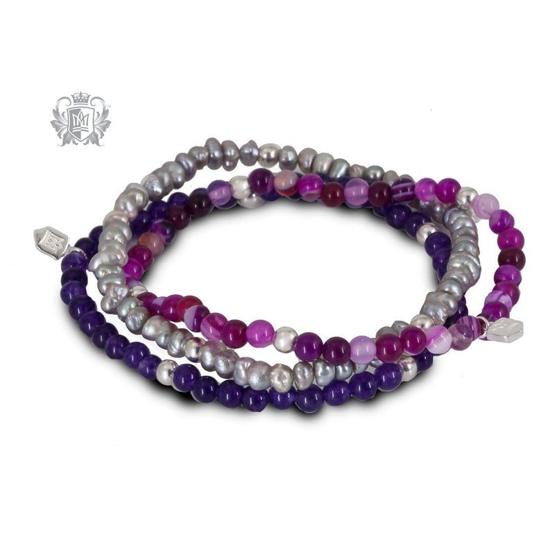Amethyst, Pink Agate & Grey Pearl  Stackable Friendship Bracelets Sterling Silver