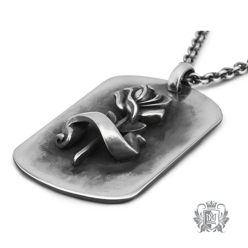 Metalsmiths Sterling Silver Rose Tattoo Dog Tag Necklace - side