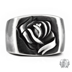 Metalsmiths Sterling Silver Tattoo Ribbon Rose Signet Ring - front