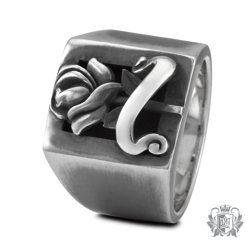 Metalsmiths Sterling Silver Vintage Tattoo Rose Signet Ring - side