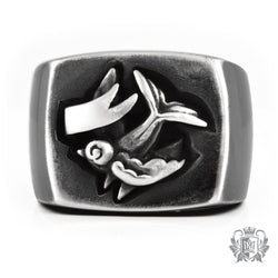 Metalsmiths Sterling Silver Tattoo Sparrow Signet Ring - front