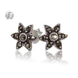Marcasite Flower Studs Metalsmiths Sterling Silver