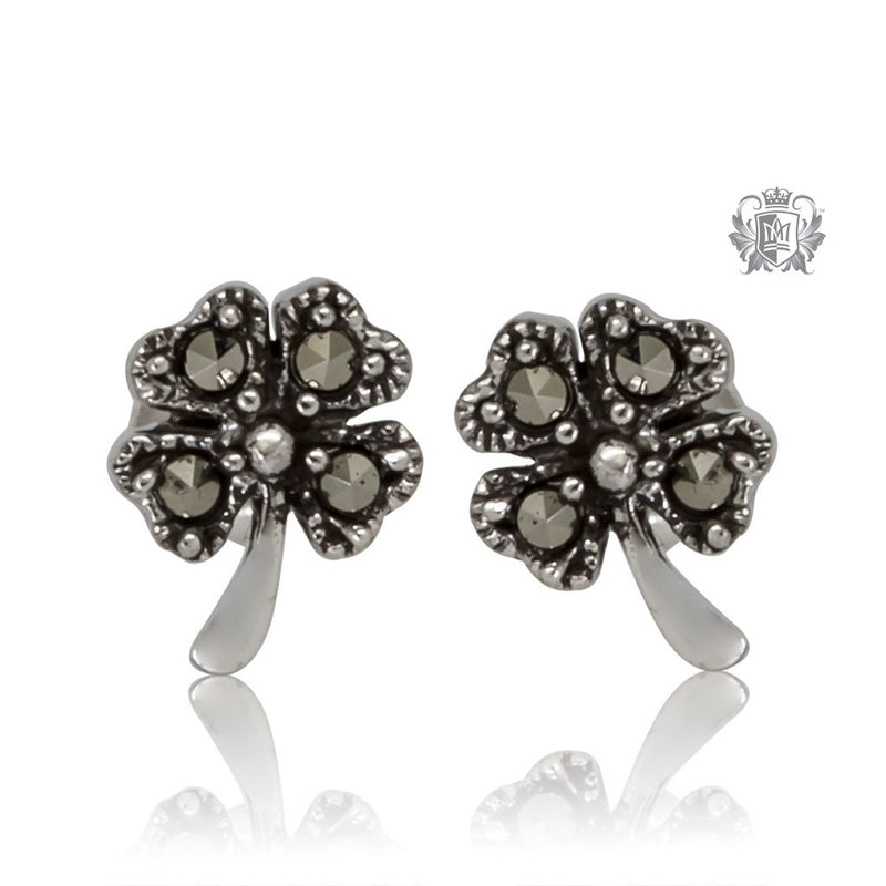 Marcasite Lucky Clover Studs Metalsmiths Sterling Silver