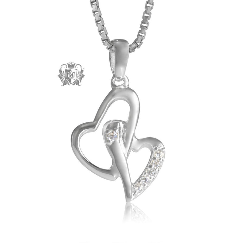 Double Heart Cubic Pendant Metalsmiths Sterling Silver