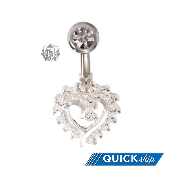 Pave Set Heart Belly Ring
