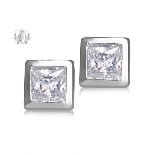 Square Cubic Bezel Set Studs Metalsmiths Sterling Silver