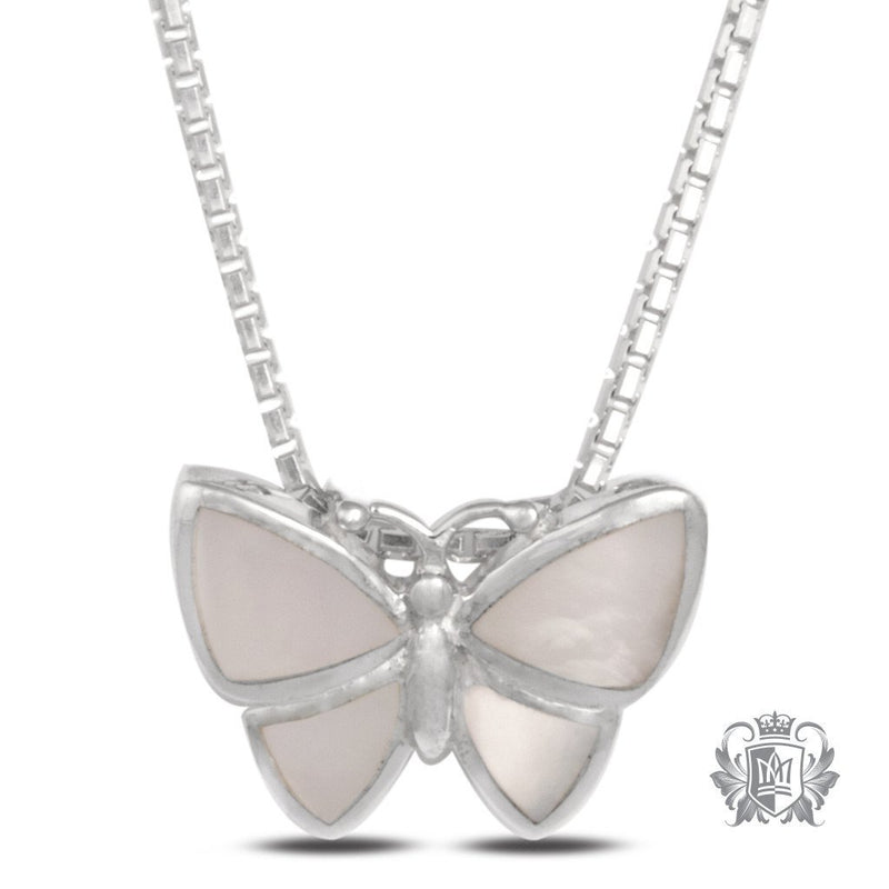 Mother of Pearl Butterfly Pendant - 18 inch chain Gemstone Pendants - 1