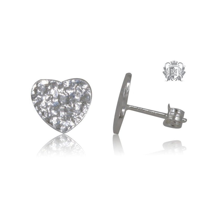 Heart Hammered Stud Earrings