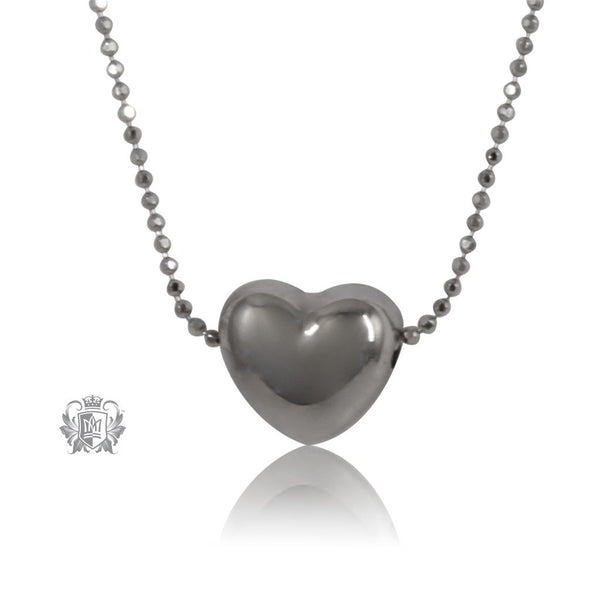 Puffy Heart Slider Necklace Sterling Silver