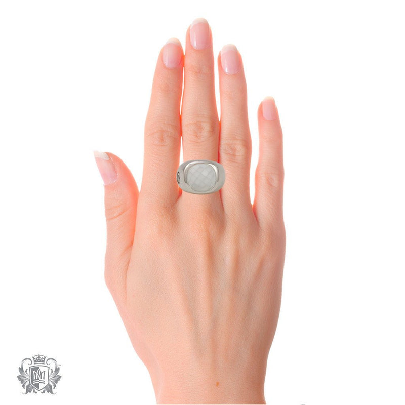 Small Checker Cut Ring - White Agate - Metalsmiths Sterling™ Canada