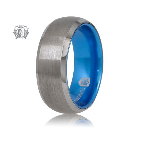 Grey/Blue Tungsten Bright Inside Band Metalsmiths Sterling