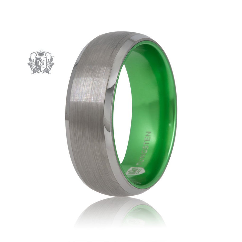 Grey/Green Tungsten Bright Inside Band Metalsmiths Sterling