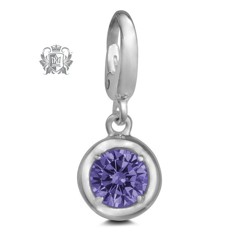 Birthstone Charm - 12 Colours Available - February/Amethyst CZ Charm - 3