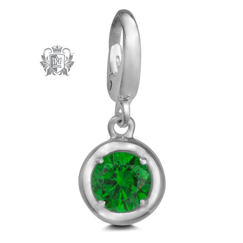 Birthstone Charm - 12 Colours Available - May/Emerald CZ Charm - 6
