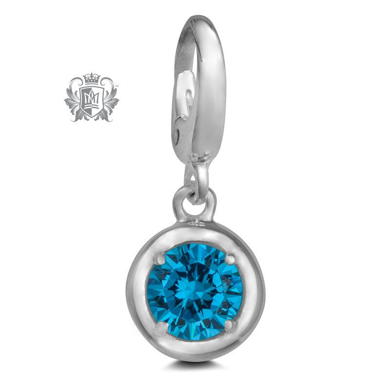 Birthstone Charm - 12 Colours Available - December/Blue Topaz CZ Charm - 13