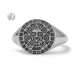 Large Aztec Calendar Signet Ring - Metalsmiths Sterling䋢 Canada