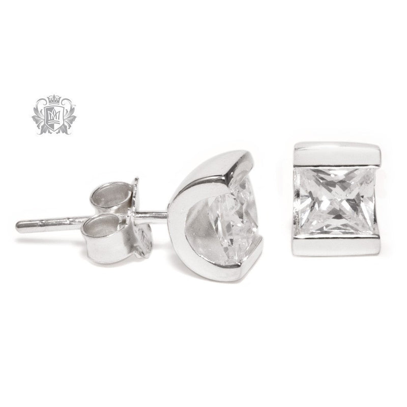 Channel Set Cubic Stud Earrings - Metalsmiths Sterling™ Canada