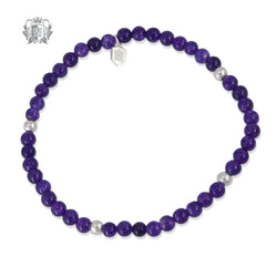 Amethyst Stackable Friendship Bracelet Sterling Silver