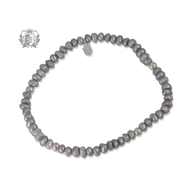 Grey Pearl Stackable Friendship Bracelet Sterling Silver