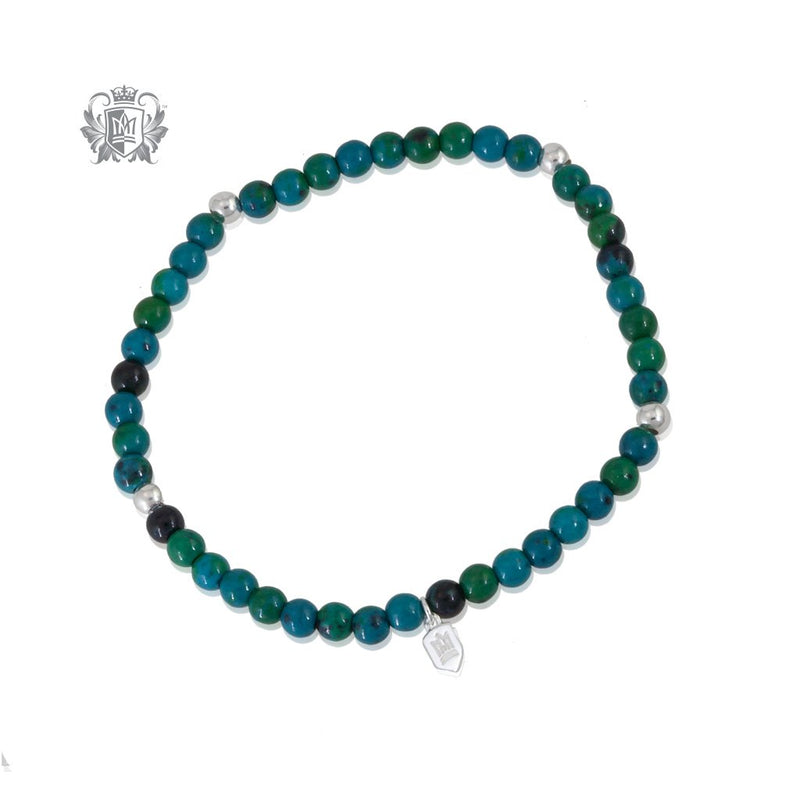 Amazonite Malachite Agate Stackable Friendship Bracelet Sterling Silver
