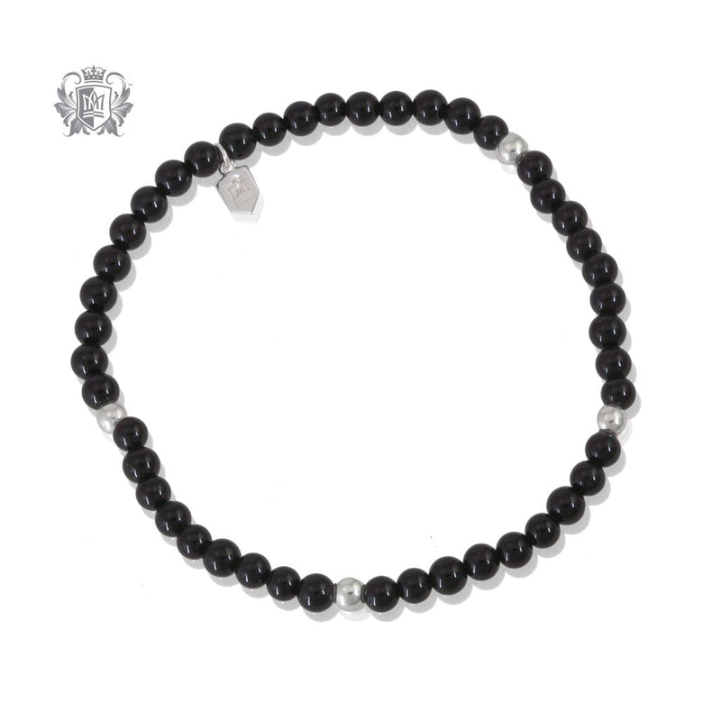 Black Onyx Stackable Friendship Bracelet Sterling Silver