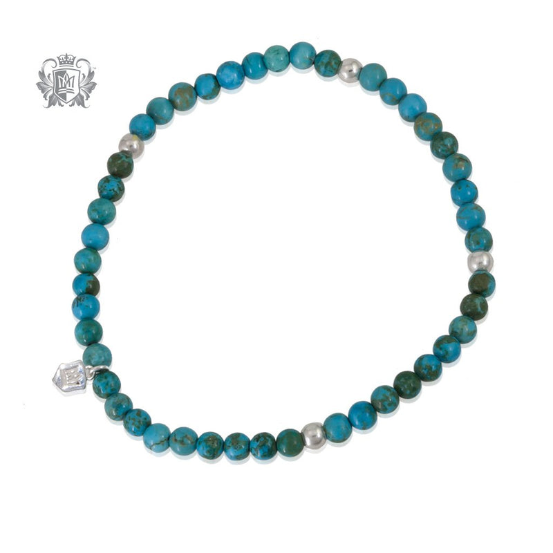 Turquoise Stackable Friendship Bracelet Sterling Silver