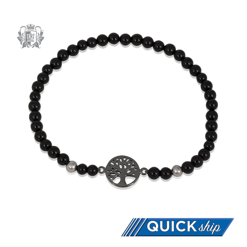 Black Onyx Tree of Life Friendship Bracelet